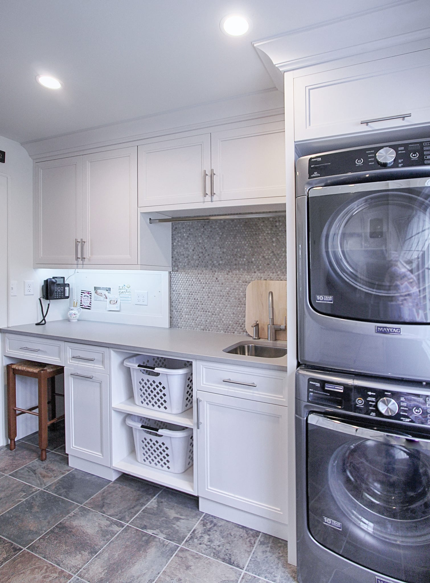 Kitchen Laundry Room Design: Laundry-Room-Bulletin-board-stacked-washer-dryer-remodel