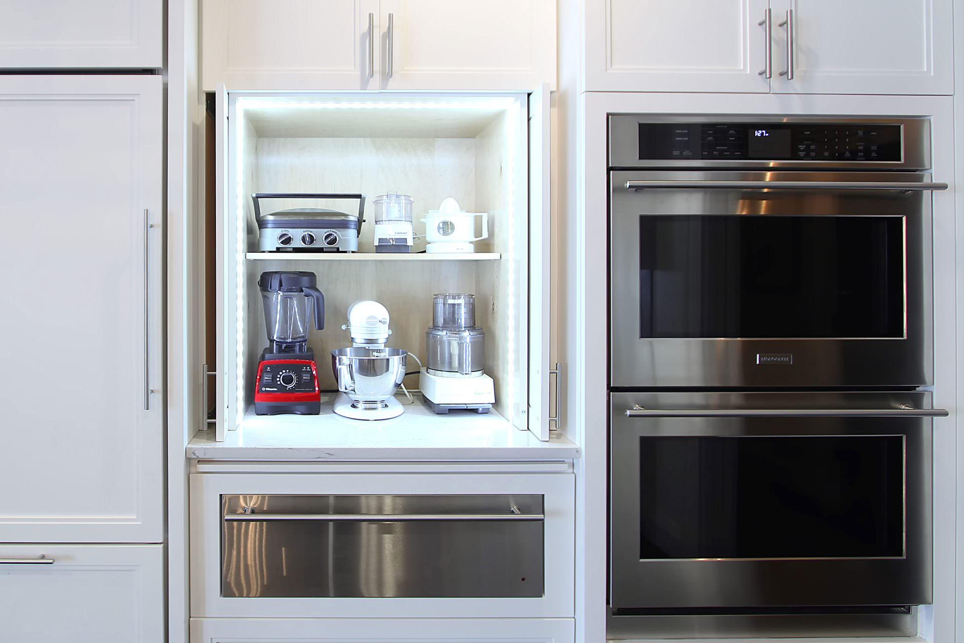 Double Oven Warming Drawer Pocket Doors Led Strip Lighting Hidden