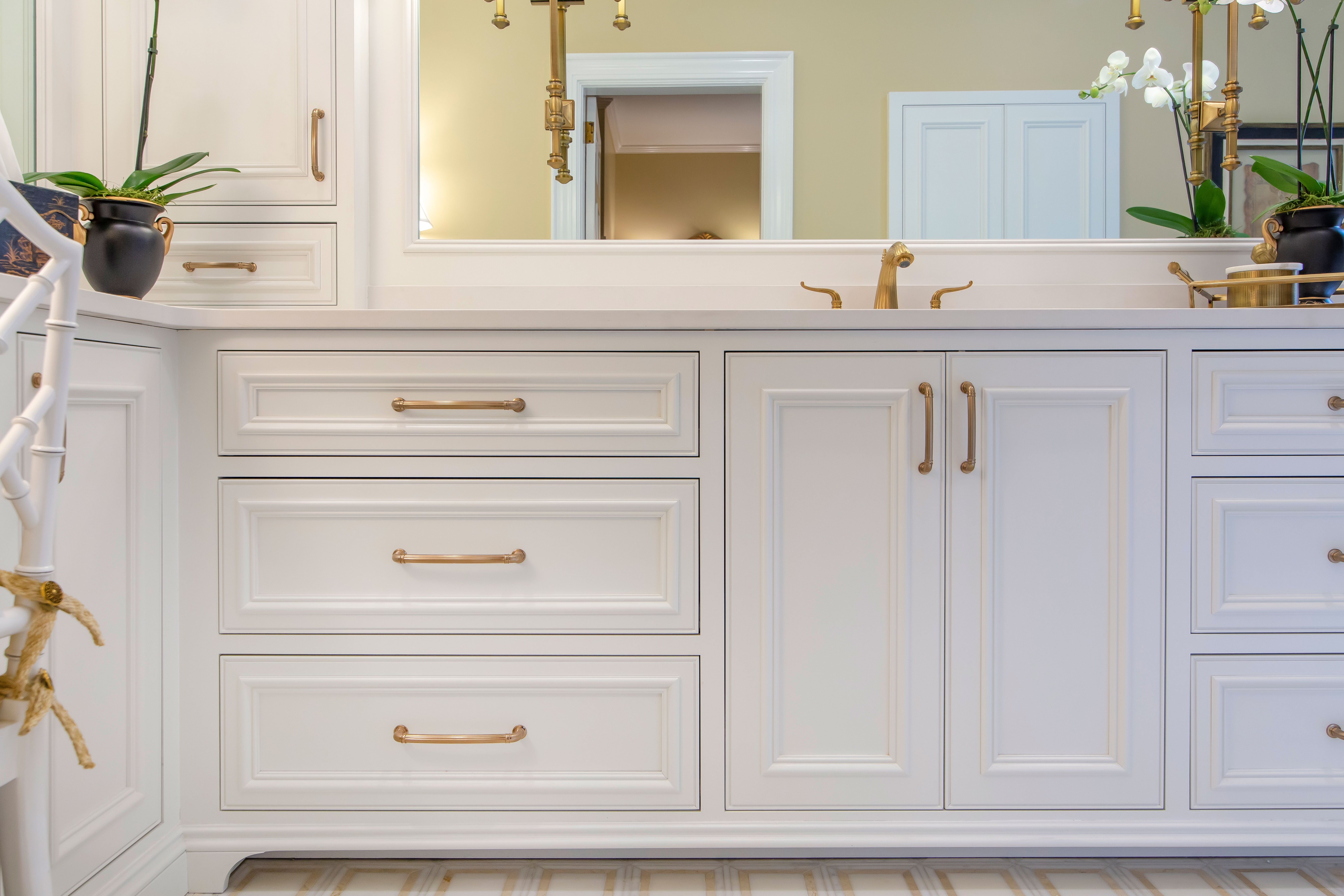White Bathroom Cabinets Champagne Bronze Finish Hardware Soft Close Beaded Inset Inset Build Method Walker Woodworking Cabinets Greenbrook Design Center