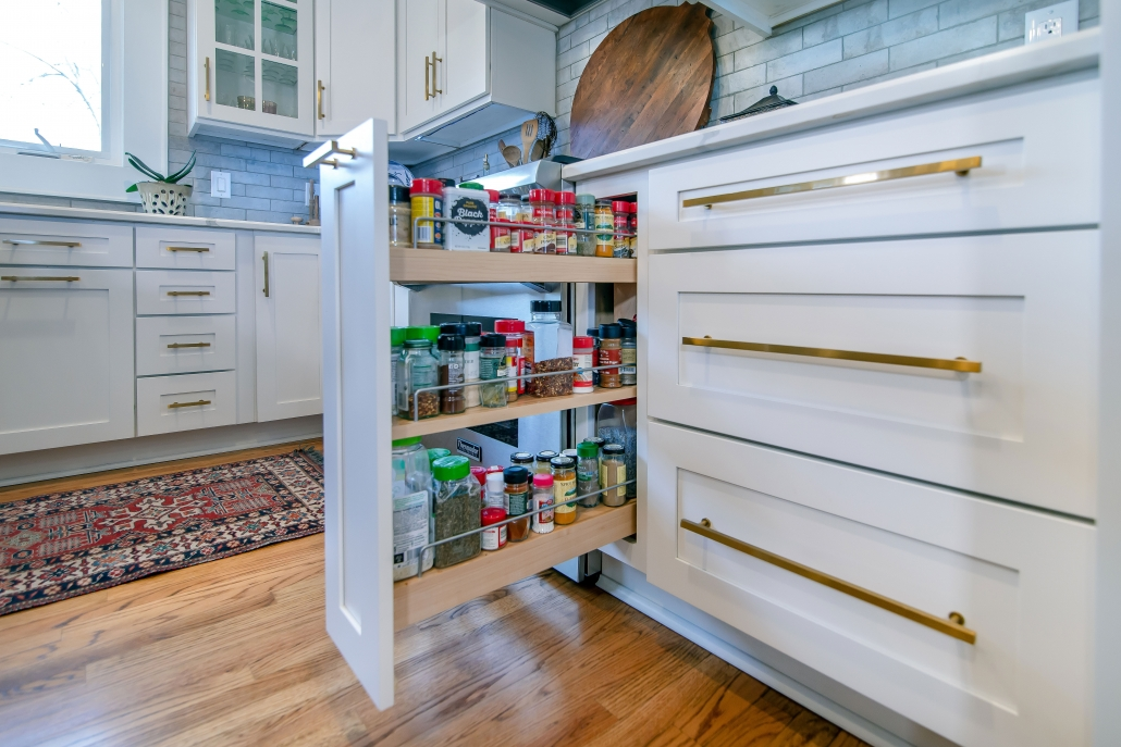 wellborn, cabinets spice pullouts, white cabinets