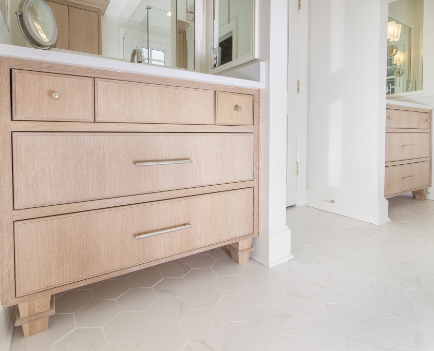 Quarter sawn white oak master bathroom single vanity with tile flooring