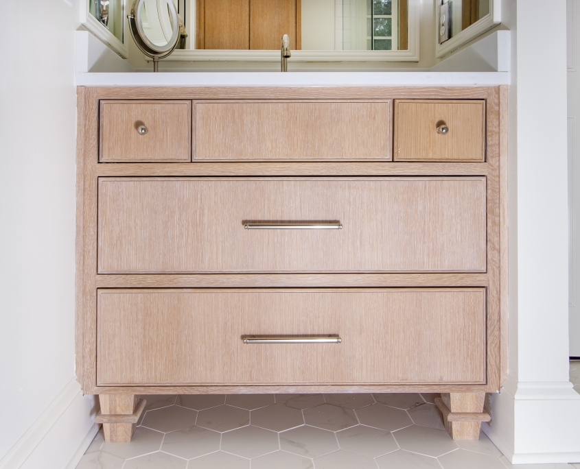 Quarter sawn white oak master bathroom vanity with white countertop and tile flooring