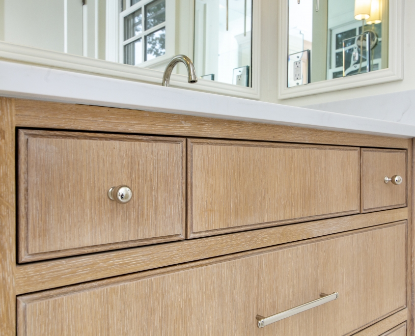 Quarter sawn white oak master bathroom vanity and white countertop