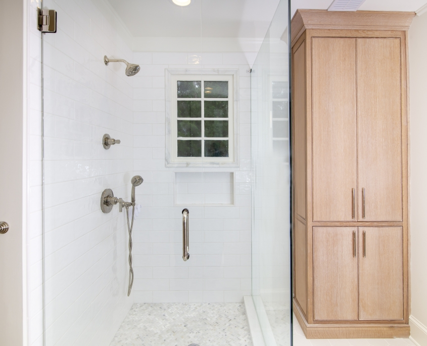 Quarter sawn white oak bathroom cabinet and walk-in shower